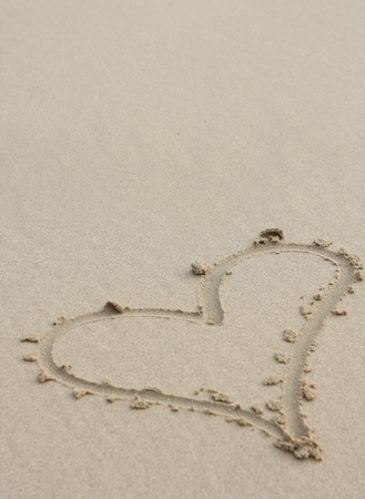 Heart drawn on sand photo