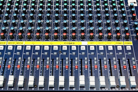 sound mixer: Part of an audio sound mixer with buttons  Stock Photo