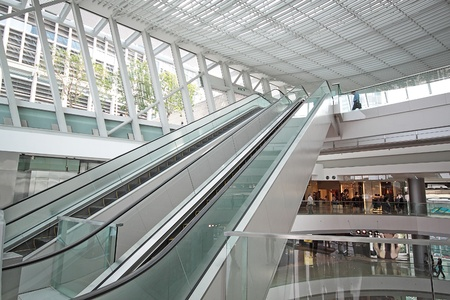 view of a staircase in a shop: Escalator in the shopping mall