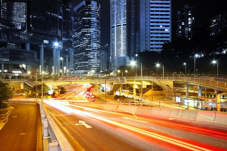modern city traffic at night  photo