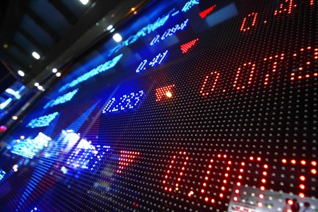 Colored ticker board at outdoor Stock Photo