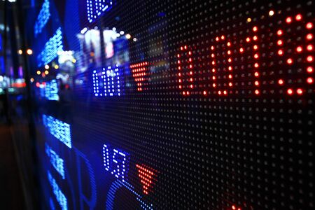stock market graph: Colored ticker board at outdoor Stock Photo