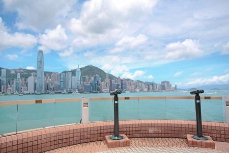dom: View point with telescope near  hongkong,china Stock Photo