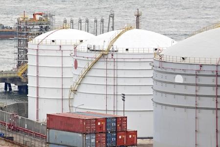 gas container and bridge , hong kong