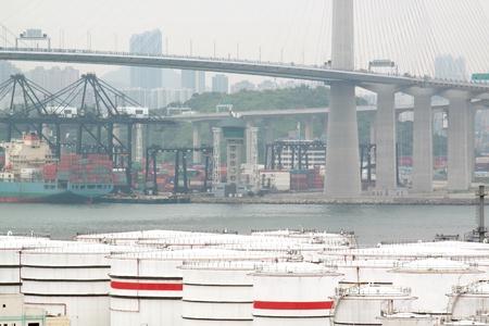 gas container and bridge , hong kong photo