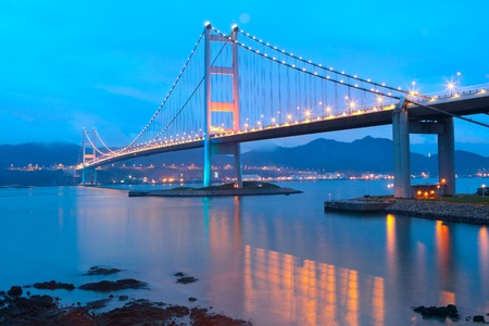 ma: Tsing ma bridge sunset