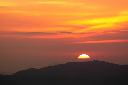 sunset in the mountain photo