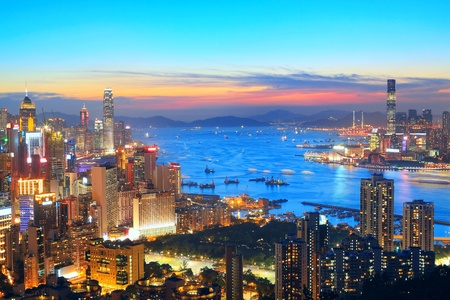 sunset in hong kong city Stock Photo - 13741528