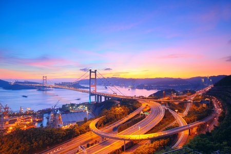 Sunset at Tsing Ma Bridge