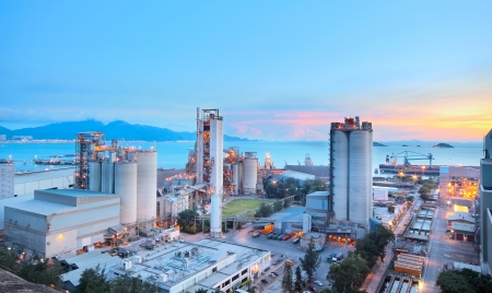 Cement Plant,Concrete or cement factory, heavy industry or construction industry.  photo
