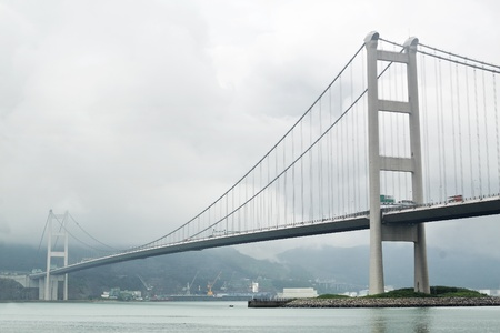 Tsing ma bridge in mist photo