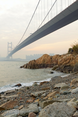 Tsing ma bridge sunset,Hongkong  photo