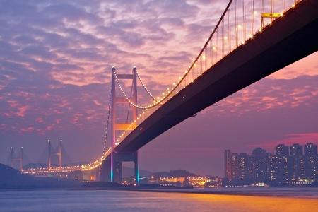 kong river: bridge in sunset , under view