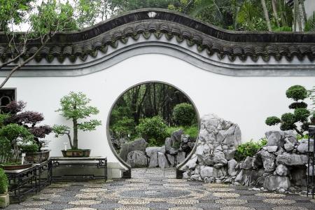홍콩에서 중국 정원의 원형 입구