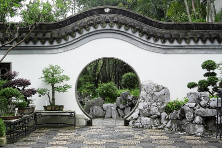 natural arch: Circle entrance of Chinese garden in Hong Kong