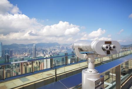 View point with telescope near hongkong,china  Stock Photo - 14331086