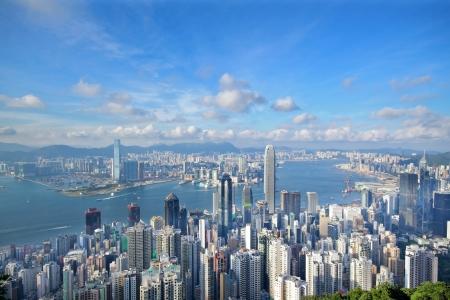 Skyline von Hong Kong vom Victoria Peak Lizenzfreie Bilder