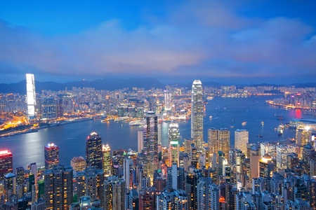 Hong Kong skyline from Victoria Peak at sunrise  Stock Photo