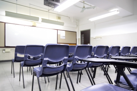 classroom training: empty classroom with chair and board