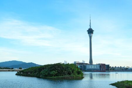 macau: Urban landscape of Macau with famous traveling tower Editorial