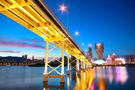 Macau Stadtbild von Brücke und Wolkenkratzer Macao, Asien.