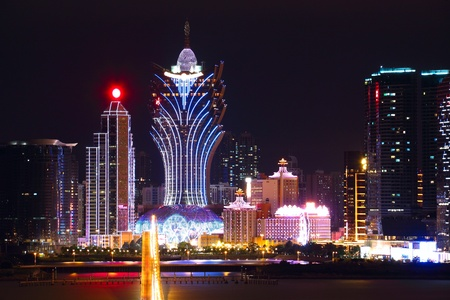 Macao cityscape with famous landmark of casino skyscraper and bridge