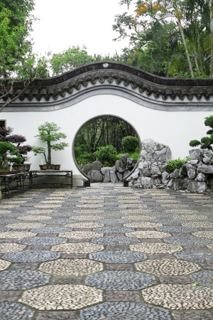 Circle entrance of Chinese garden in Hong Kong  photo