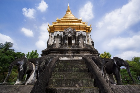 Ancient temple, Wat Chiang Man temple in Chiang Mai, Thailand.  photo