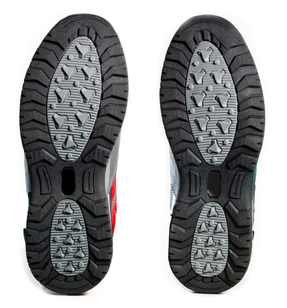 rubber sole: Bottom of hiking shoes on white background