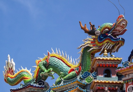 chinese temple: Colorful dragon statue on china temple roof.