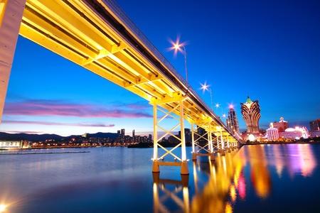 다리와 마천루 마카오, 아시아 마카오의 풍경.