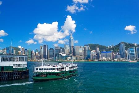 홍콩 섬, 빅토리아 항구 (Victoria Harbour). 스톡 콘텐츠