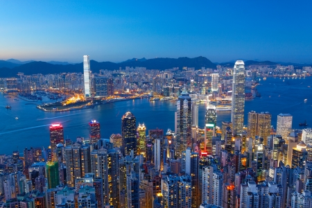 hong kong night: Hong Kong Island, Victoria Harbour at night