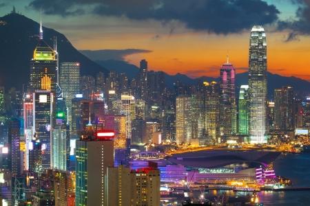 hong: office building at sunset in hong kong