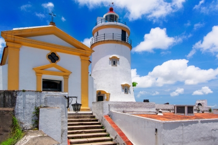 Guia Lighthouse, Fortress and Chapel, Macau.  Stock Photo