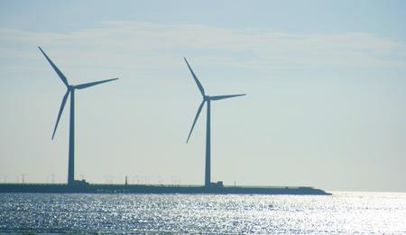 Wind turbines in seacoast photo