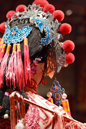 chinese opera: chinese dummy opera, looking after the stage