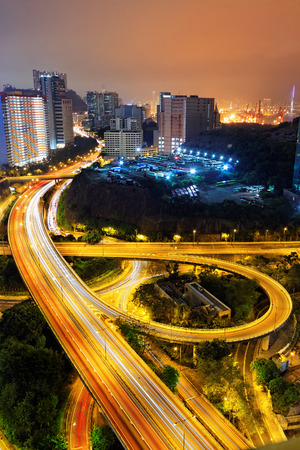 night traffic: busy traffic night in finance urban