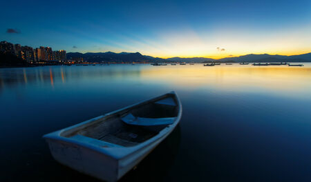 sunset on the lake, boat  photo