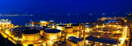 Oil tanks at night , hongkong  photo