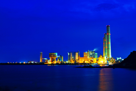 power station at night, hong kong