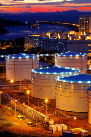 Oil tanks at sunset , hongkong tung chung photo