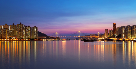 esplanade: sunset at downtown city,hongkong tsuen wan Stock Photo