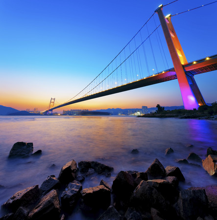 Sunset at Tsing Ma Bridge  photo
