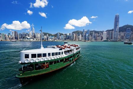 ferries: Victoria Harbor of Hong Kong  Editorial