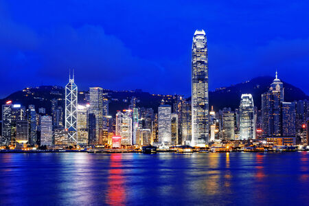 habour: hong kong office building at night