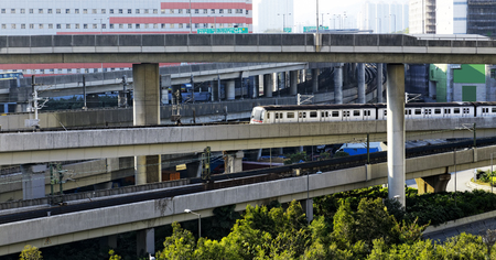 Hong Kong downtown area, Train and highway  photo