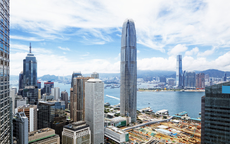 icc: Hong Kong skyline.  Stock Photo