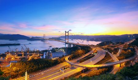 Sunset at Tsing Ma Bridge , hong kong landmark Editorial