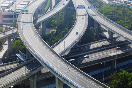 interchange: aerial view of the city overpass in early morning, HongKong,Asia China
